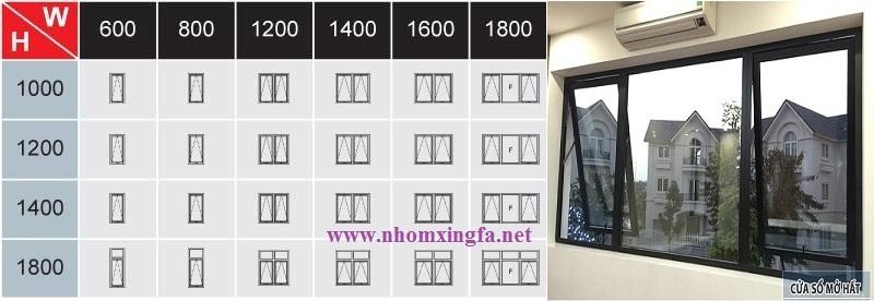 Bảng kích thước cửa đi mở quay 2 cánh nhôm Xingfa