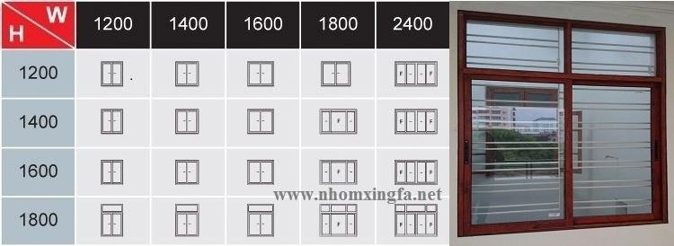 Bảng kích thước cửa sổ mở trượt nhôm Xingfa